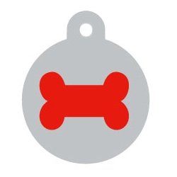Silver Disc Red Bone Pet ID Tag