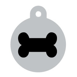 Wholesale Large Silver Disc And Black Paw Dog ID Tags x10 Pack