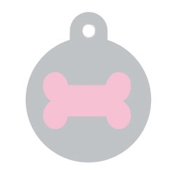 Silver Disc Pink Bone Pet ID Tag