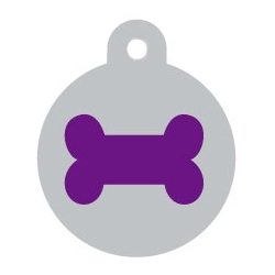 Silver Disc Purple Bone Pet ID Tag