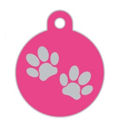 Wholesale Large Disc Two Paws Red Dog ID Tags x10 Pack