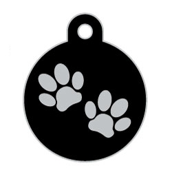Black Large Disc Two Paws Supreme Range Dog ID Tag