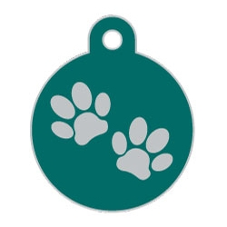 Wholesale Large Disc Two Paws Pink Dog ID Tags x10 Pack