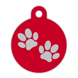 Red Large Disc Two Paws Supreme Range Dog ID Tag