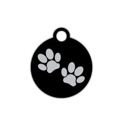 Wholesale Small Disc Two Paws Blue Dog ID Tags x10 Pack