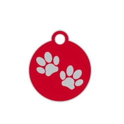 Wholesale Small Disc Two Paws Black Dog ID Tags x10 Pack