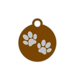 Wholesale Small Disc Two Paws Green Dog ID Tags x10 Pack