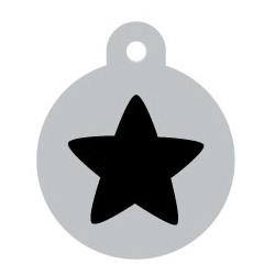 Silver Circle Black Star Pet ID Tag