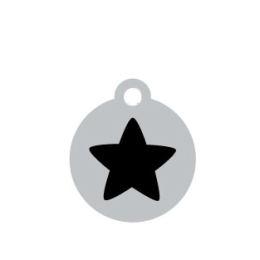 Small Silver Disc Black Star Pet ID Tag