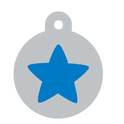 Silver Circle Blue Star Pet ID Tag