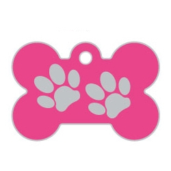 Pink Large Bone Two Paws Supreme Range Dog ID Tag