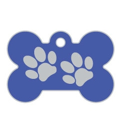 Wholesale Large Bone Two Paws Brown Dog ID Tags x10 Pack