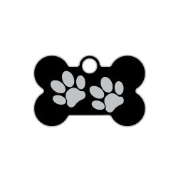 Black Small Bone Two Paws Supreme Range Dog ID Tag