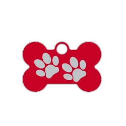 Wholesale Small Bone Two Paws Black Dog ID Tags x10 Pack