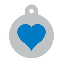 Silver Circle Blue Heart Pet ID Tag