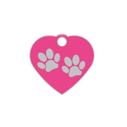 Pink Small Heart Two Paws Supreme Range Dog ID Tag