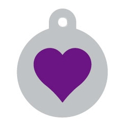 Silver Circle Purple Heart Pet ID Tag