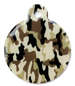 Camo Army Desert Large Disc Dog ID Tag