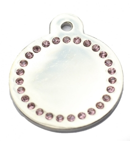 Wholesale Large Pink Diamonds Silver Disc Dog ID Tags x10 Pack