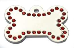 Silver Bone Red Diamonds Champion Pet ID Tags