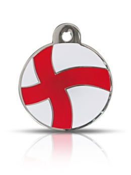 Large England St George Flag Disc Dog Name ID Tags