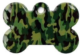 Camo Army Green Bone Dog ID Tag
