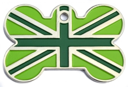 Green Union Jack Large Bone ID Tag