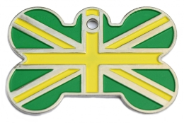Green And Yellow Union Jack Flag Dog ID Tag
