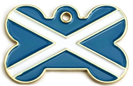 Large Scotland Flag Bone Pet ID Tag