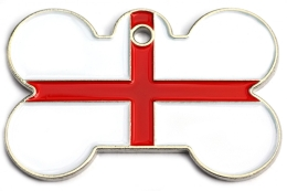 Large England St George Flag Bone Pet ID Tag