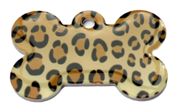 Leopard Skin Large Bone Dog ID Tag
