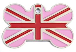Pink Union Jack Bone Dog ID Tag