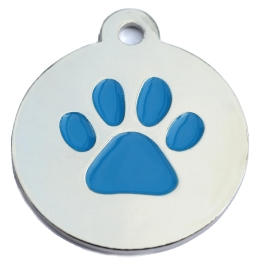 Silver Disc And Blue Dog Paw ID Tag