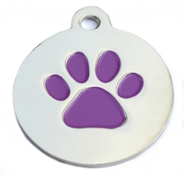 Silver Disc And Purple Dog Paw ID Tag