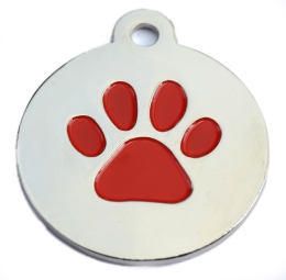 Silver Disc And Red Dog Paw ID Tag