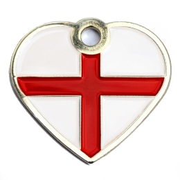St George Flag Dog ID Tag Small Heart