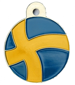 Sweden Flag Large Disc Dog ID Tag