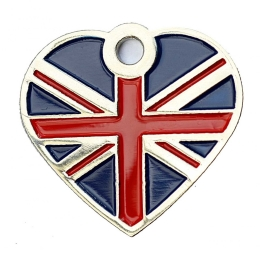 Union Jack Bone Pet ID Tag Flag