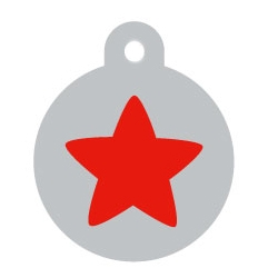 Silver Circle Red Star Pet ID Tag
