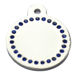 Wholesale Large Blue Diamonds Silver Disc Dog ID Tags x10 Pack