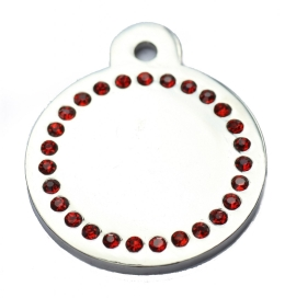Silver Disc Red Diamonds Champion Pet ID Tag