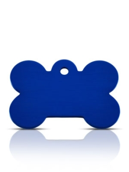 Wholesale Large Blue Diamond Silver Bone Dog ID Tags x10 Pack
