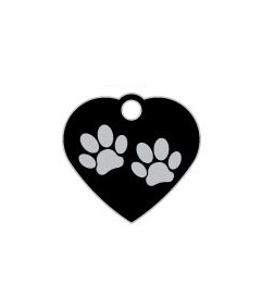 Wholesale Small Heart Two Paws Blue Dog ID Tags x10 Pack