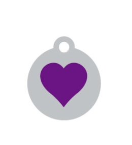 Small Silver Disc Purple Heart Pet ID Tag