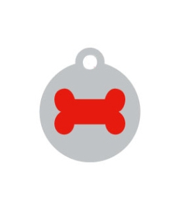 Small Silver Disc Red Bone Pet ID Tag