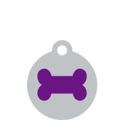 Small Silver Disc Purple Bone Pet ID Tag
