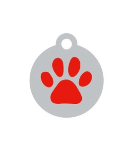 Small Silver Disc And Red Dog Paw ID Tag