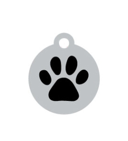 Small Silver Disc And Black Dog Paw ID Tag