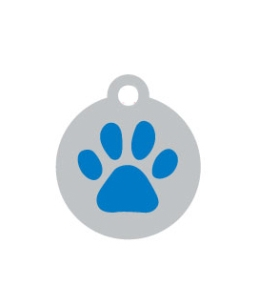 Small Silver Disc And Blue Dog Paw ID Tag