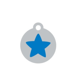 Small Silver Disc Blue Star Pet ID Tag
